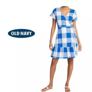 *2 for $40: Old Navy Blue&White Gingham Wrap Dress